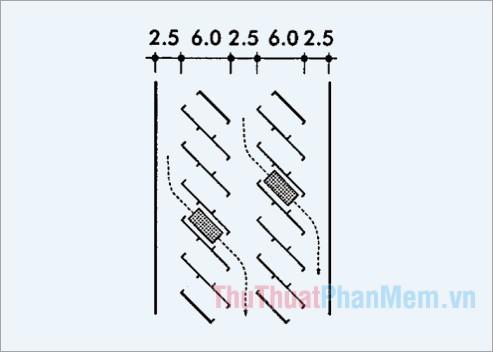 Kích thước bãi đỗ xe được bố trí xe chạy xuyên qua 45 độ