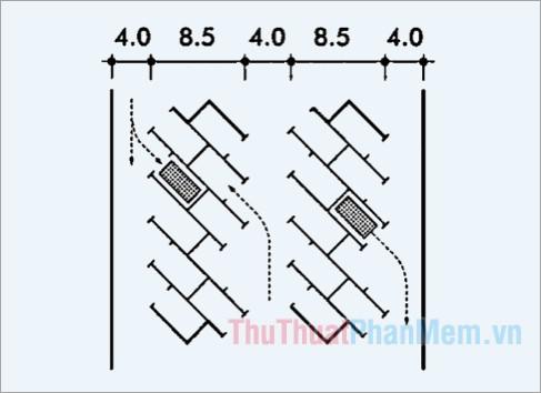 Kích thước bãi đỗ xe với cách bố trí các xe đấu lưng nhau 45 độ
